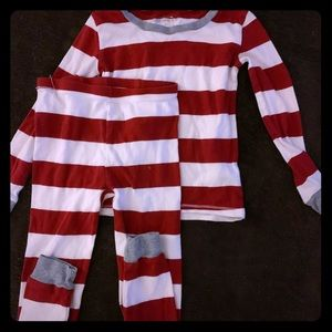Burts Bees Rugby Stripe Red Toddler PJ's